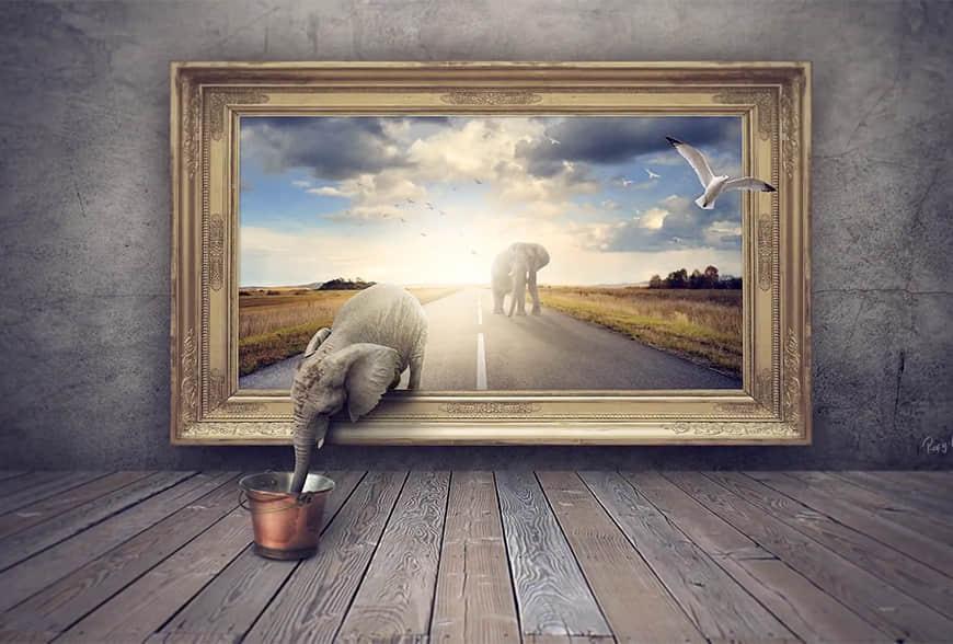 创意合成!从画中出走的大象 (含素材)
