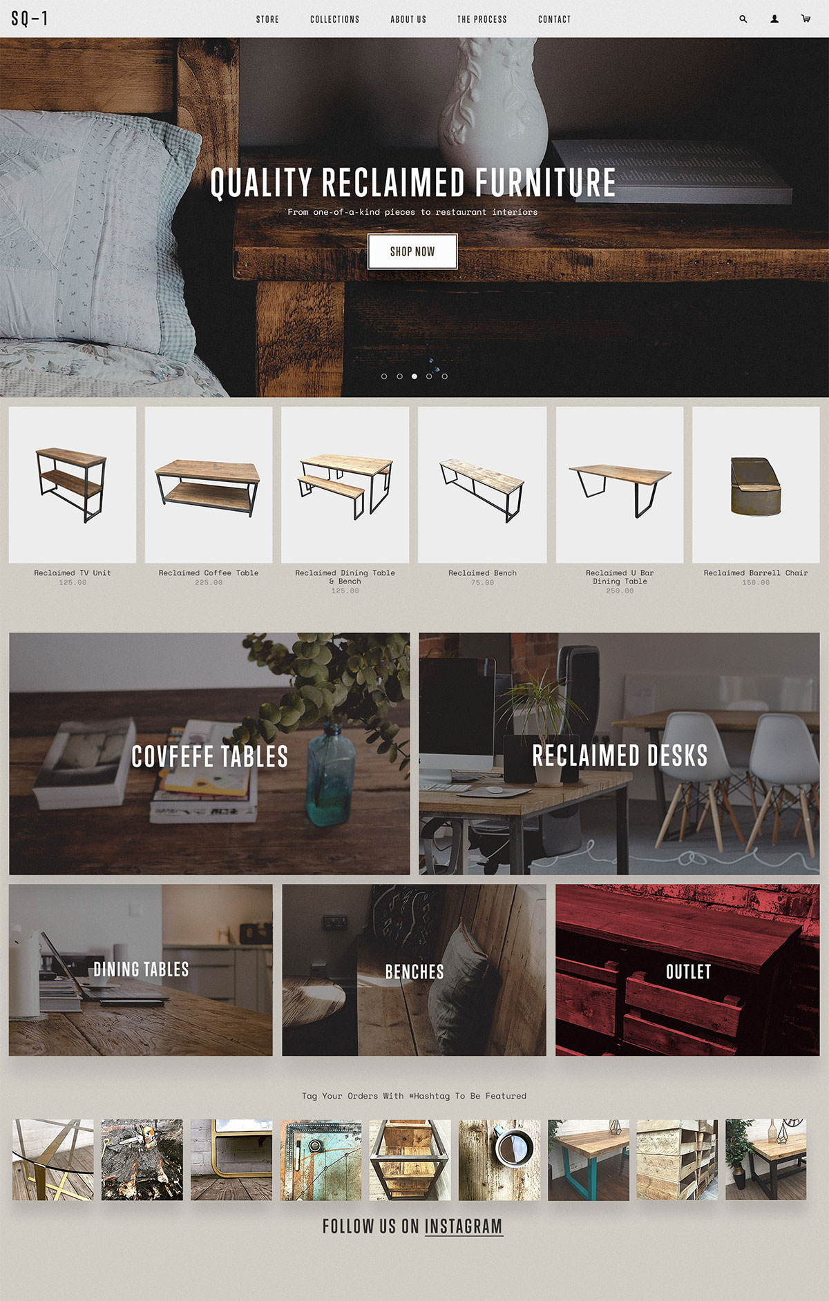 Reclaimed Furniture Homepage UI by Olly Sorsby