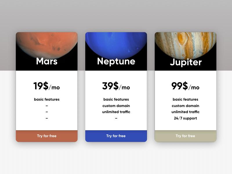 多款选择!12个简洁的价格标签页设计