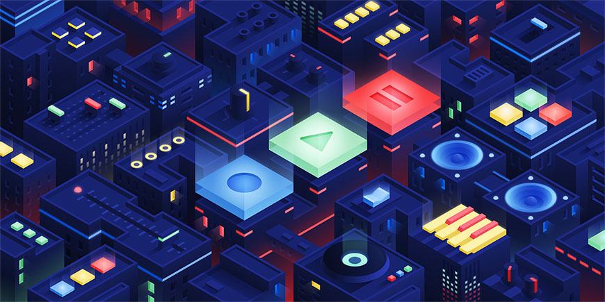 AI教程!2.5d等距视角风格城市场景渐变插画