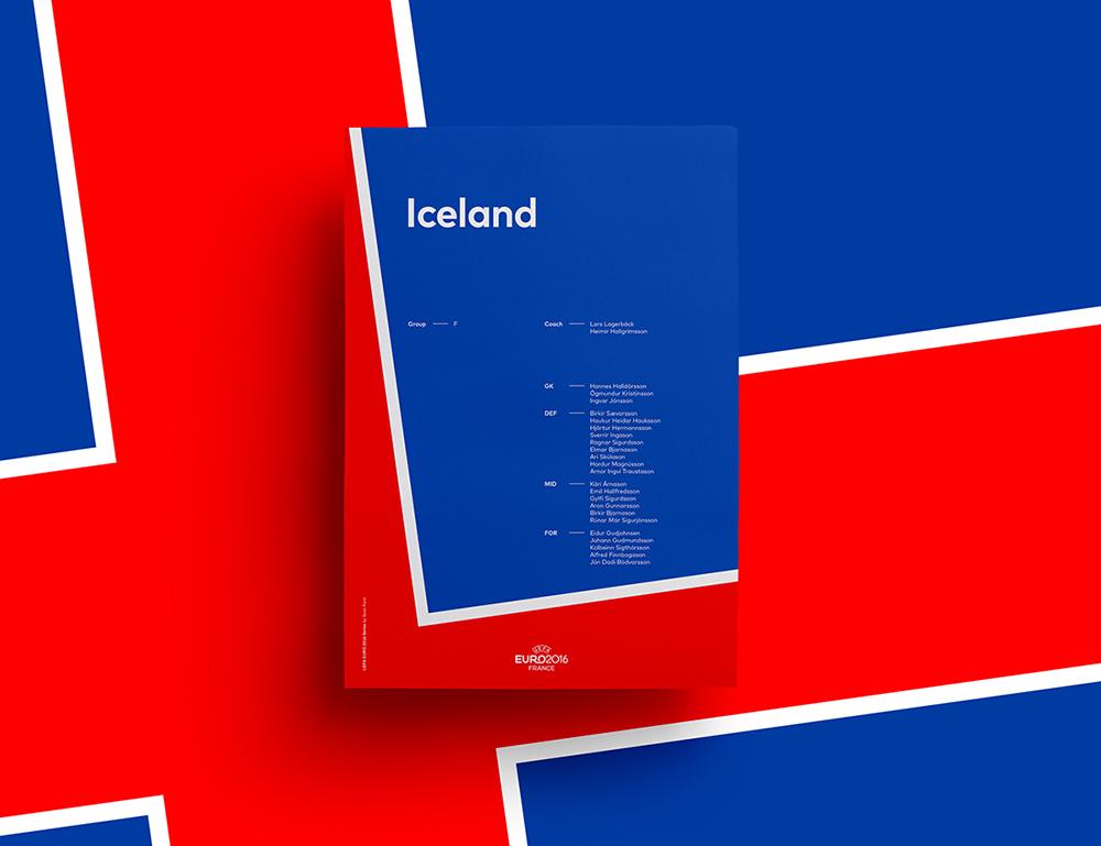 极简主义!欧洲杯各国国旗元素几何海报