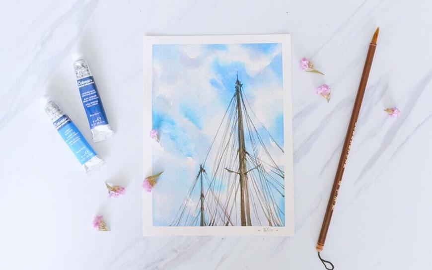 水彩速剪!用一首歌的时间绘制蓝天下的桅杆