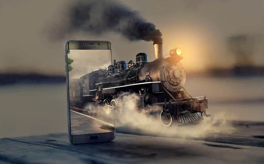 PS教程!教你合成手机中驶出3D火车头效果