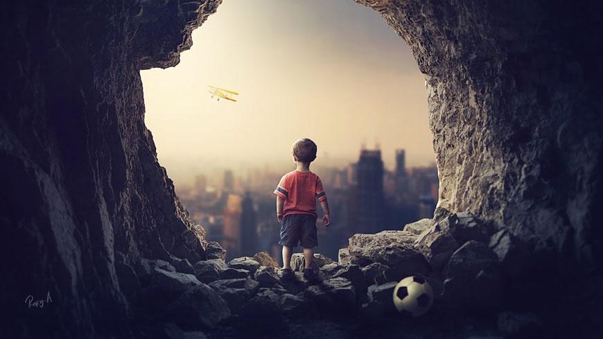 PS教程!教你合成洞中的小男孩奇幻场景(含素材下载)
