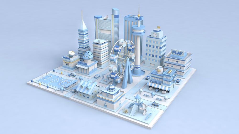 12款用C4D绘制的三维城市场景