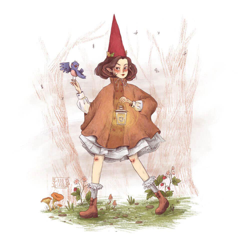 一组少女心爆棚的手绘插画