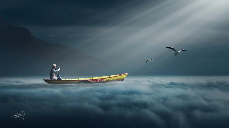 PS教程!教你合成云上撑船光束照片场景(含素材下载)