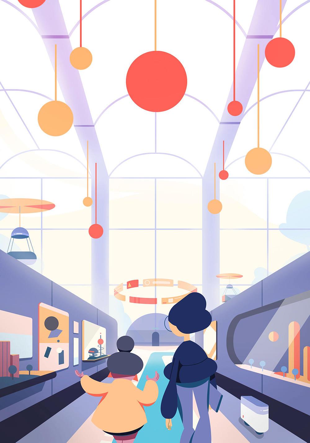 未来感!一组智能工作流程插画灵感