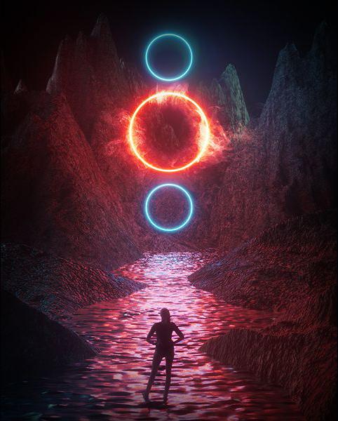 C4D教程!教你用Octane渲染神秘光环科幻场景