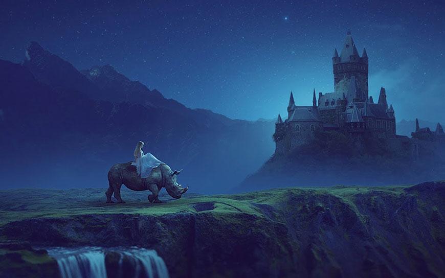 PS教程!合成城堡外的少女骑犀牛梦幻童话场景(含素材下载)