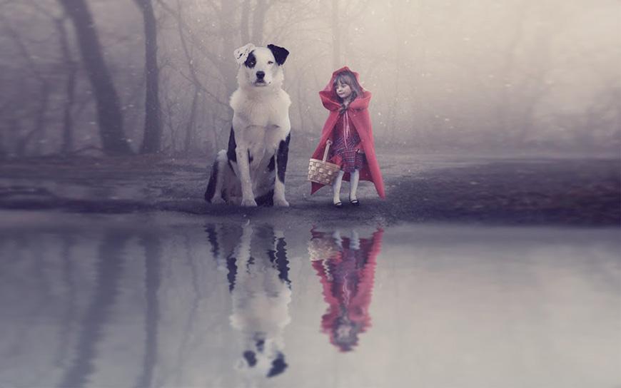 PS教程!教你合成小红帽与狗的童话场景(含素材下载)