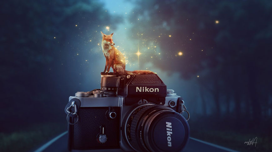 PS教程!教你合成朦胧夜色里站在相机上的发光狐狸(含素材下载)