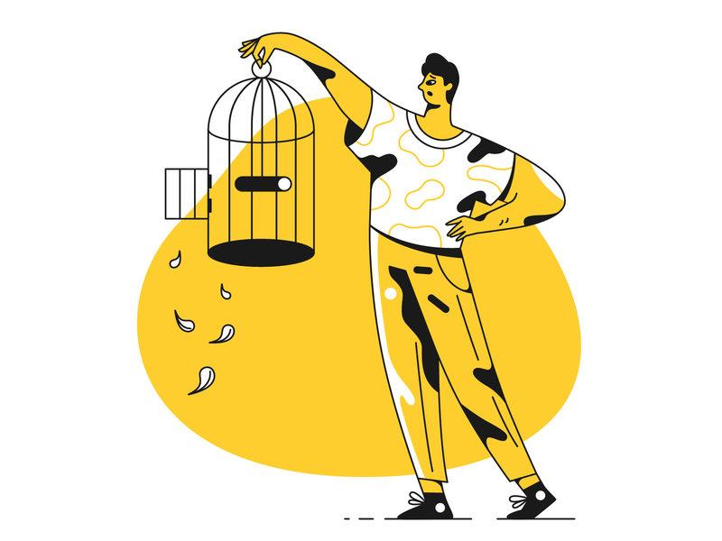 黄色系用户界面插画灵感!