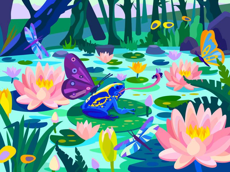 美景!一组绚丽的植物场景插图