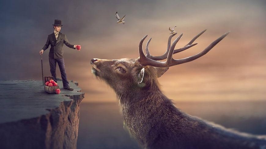PS教程!教你合成崖边的魔术师与麋鹿梦幻场景(含素材下载)