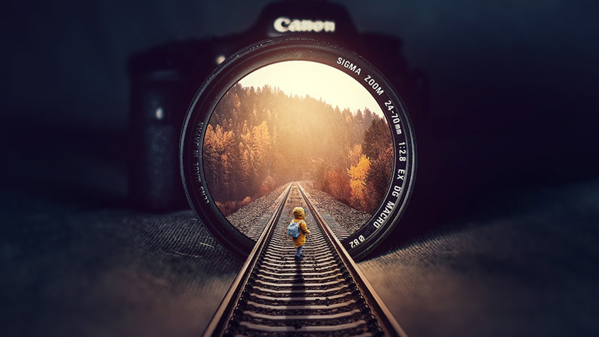 PS教程!教你合成相机中的枫林铁轨美景(含素材下载)