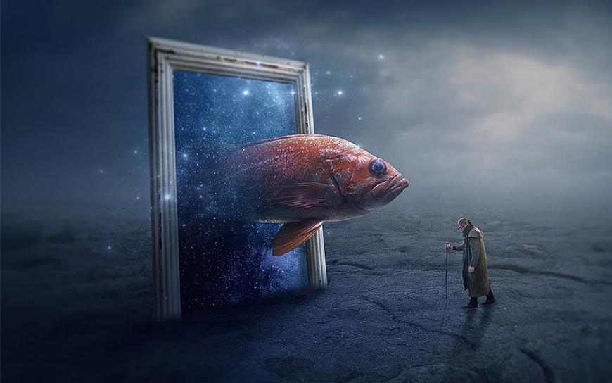 PS教程!教你合成在梦幻之地遇见锦鲤的神奇场景