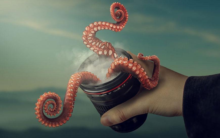 PS教程!教你合成章鱼从镜头里跑出来的奇幻场景