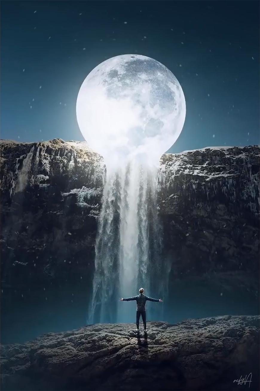 PS教程!教你合成月色下瀑布边超现实场景(含素材下载)