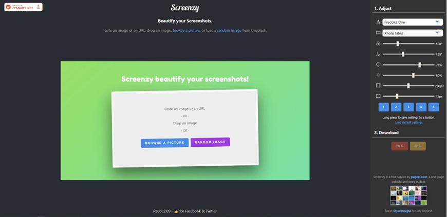 设计神器Screenzy!插画摄影作品展示图在线生成网站