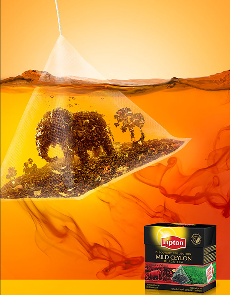 立顿茶包产品创意海报设计