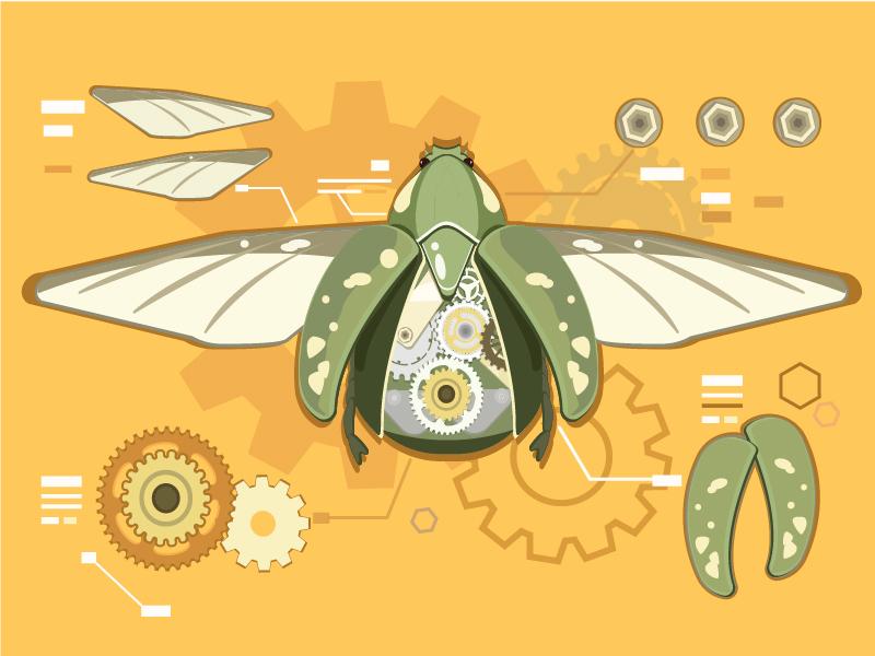 AI教程!机械甲虫矢量插画绘制思路分享