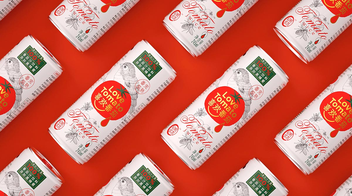 感觉到酸甜的包装!番茄汁饮品包装设计