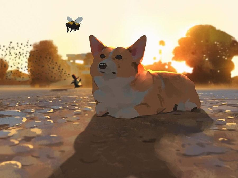 温暖治愈系!萌宠动物主题插画