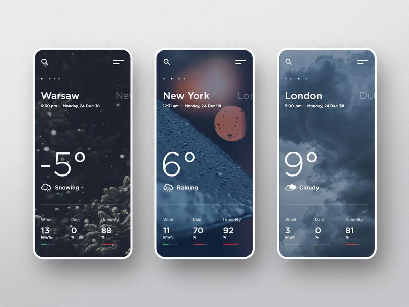 出门瞅一瞅~12组天气预报界面设计灵感