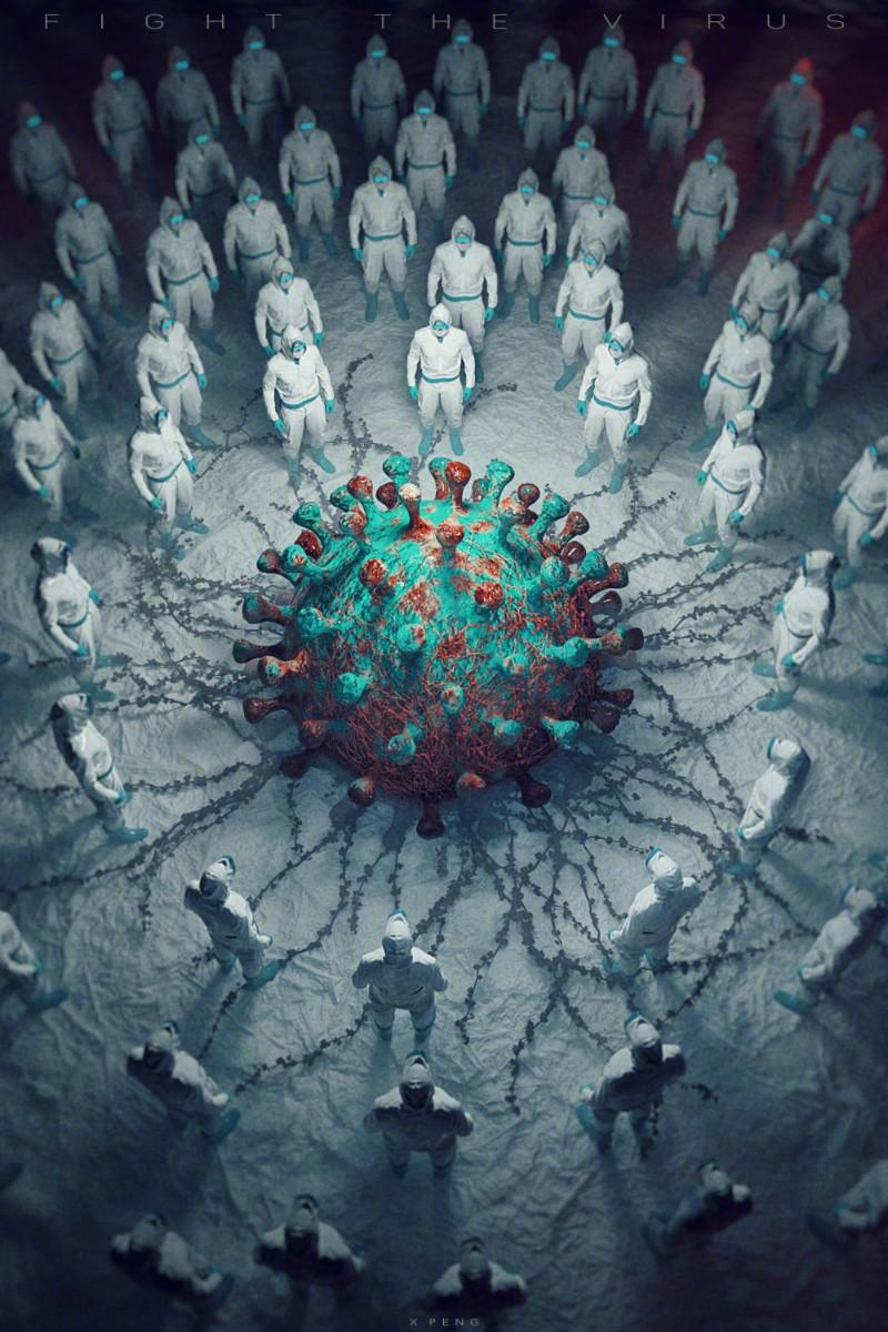 JDRD设计团队联合多位设计师创作「疫情退散」的主题海报