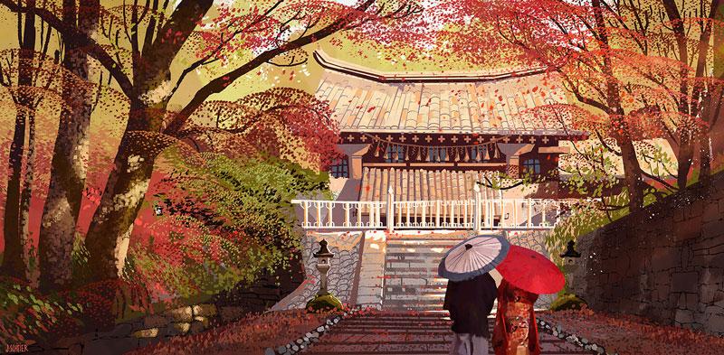 16款日式风格场景概念插画