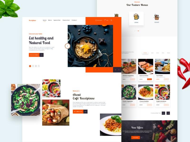 美食驾到!12组食谱网页界面设计灵感