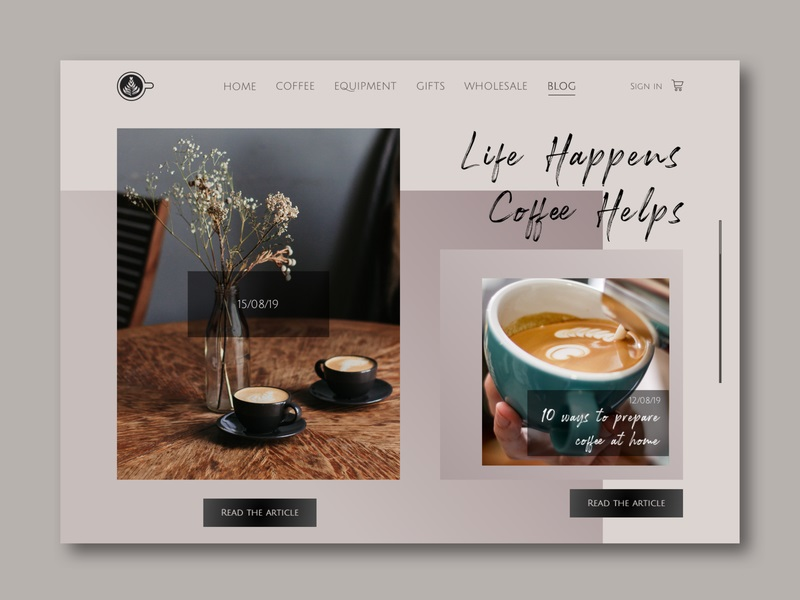 Anna Udovenko—Coffee Store Blog Page Design