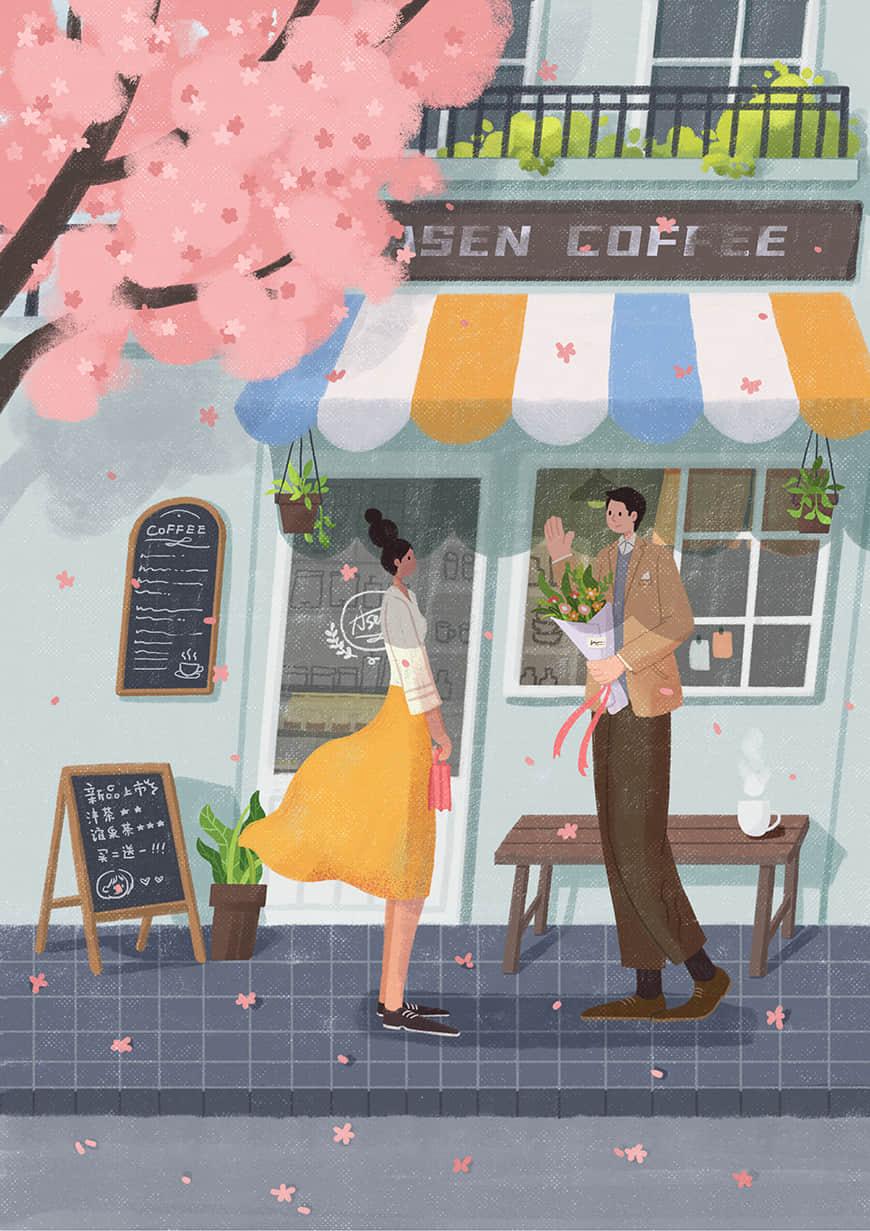 手绘教程!最美的樱花手绘壁纸速剪