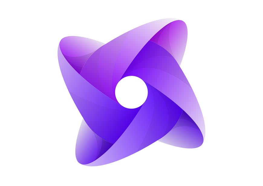 AI教程!YOGA风紫色渐变LOGO