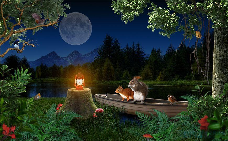 PS教程!宁静月夜趣味场景合成