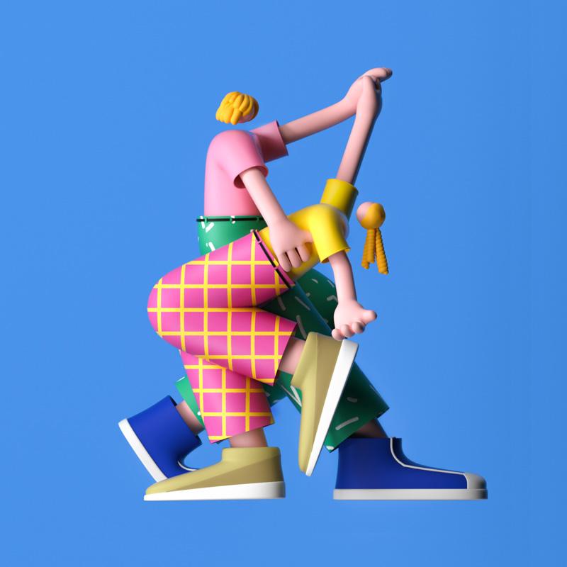 活力友好!一组3D卡通角色设计