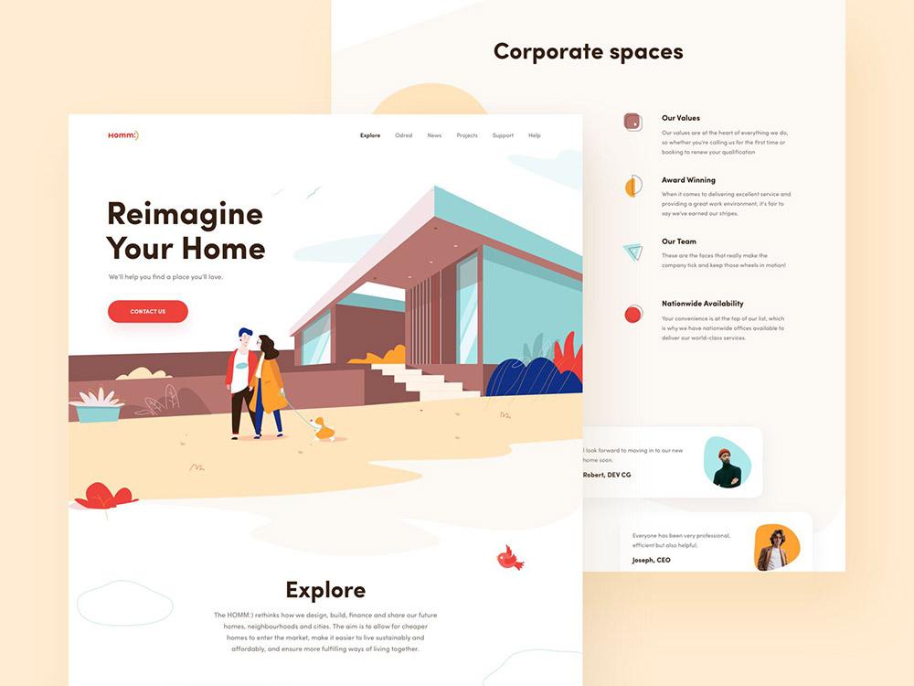 12张网页设计中的扁平风格插画设计灵感