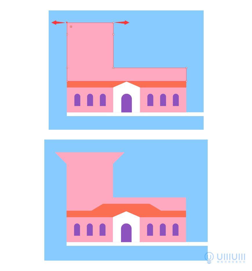 AI教程!梦幻的扁平风格建筑插画