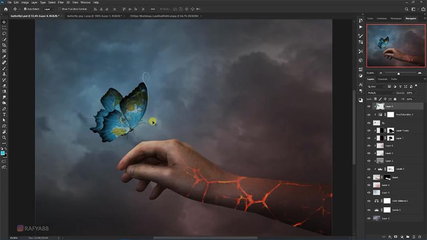 PS教程!困境中遇见指引的发光蝴蝶(含素材下载)