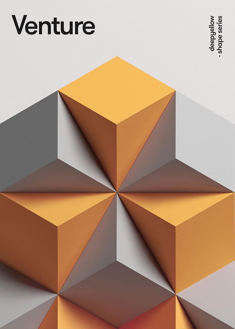 Deep Yellow的创意立体几何海报