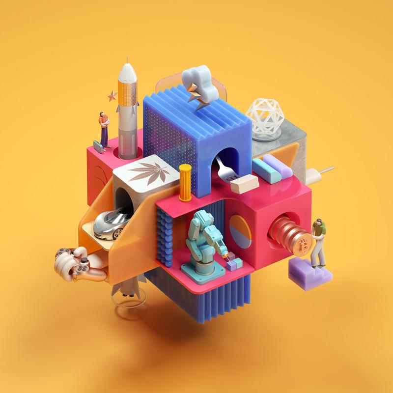趣味吸引!色彩柔和的3D作品