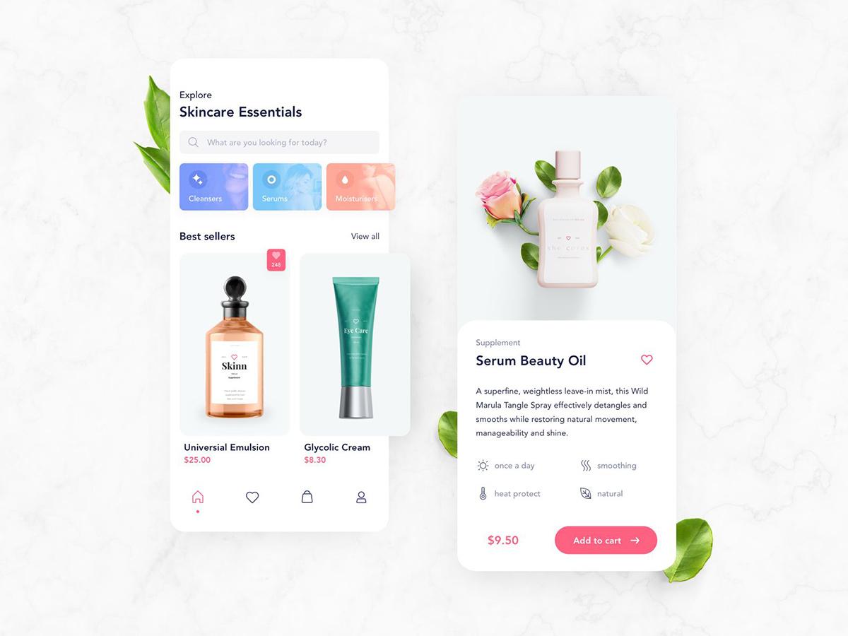 大牌品质!12组化妆品护肤品购买App界面设计