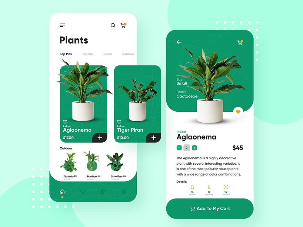 12组充满生命力的购买绿植App界面设计