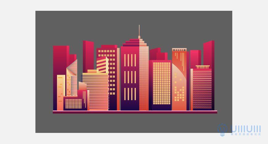 AI教程!渐变风格城市夜景插画