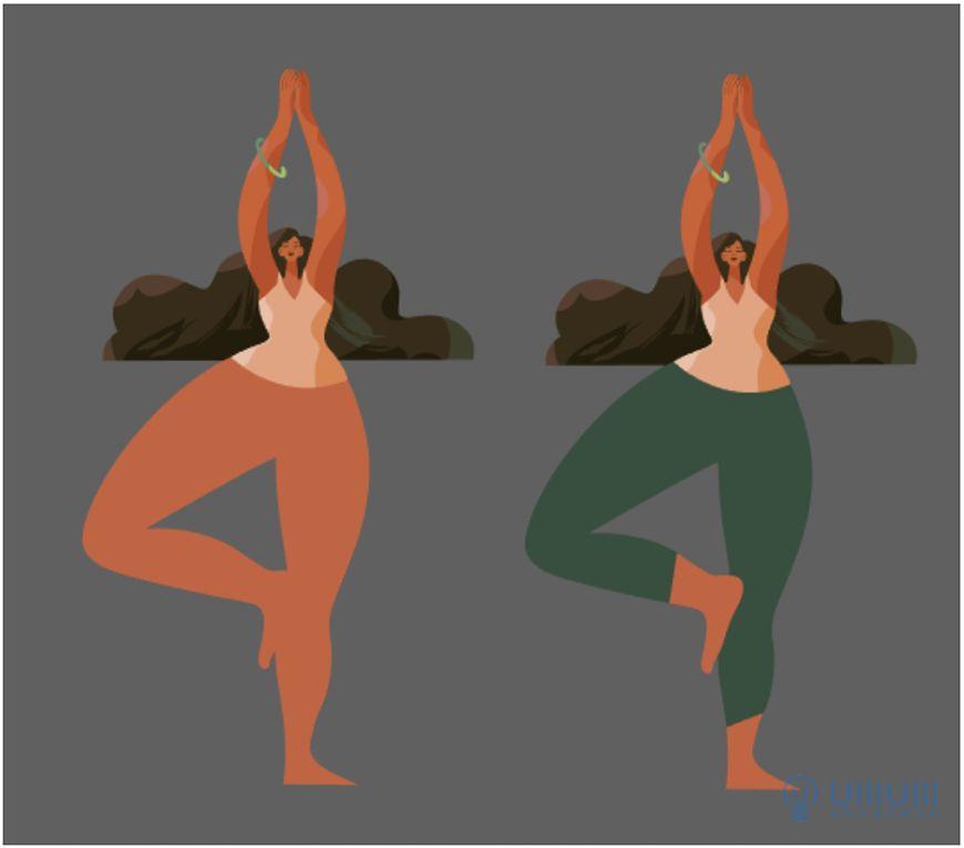 AI教程!扁平风格瑜伽少女场景插画