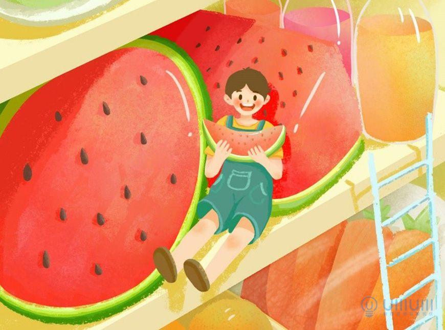 手绘教程!记忆中的夏天主题场景插画