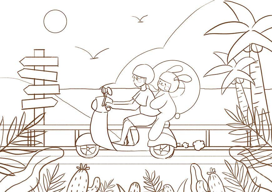 手绘教程!落日余晖下的海边场景插画