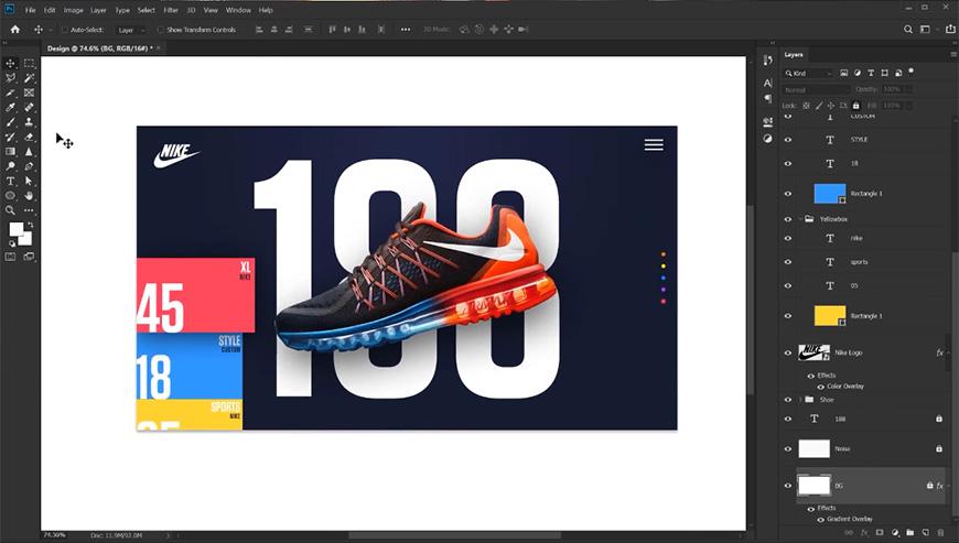 PS教程!Nike品牌网页设计!(含素材下载)