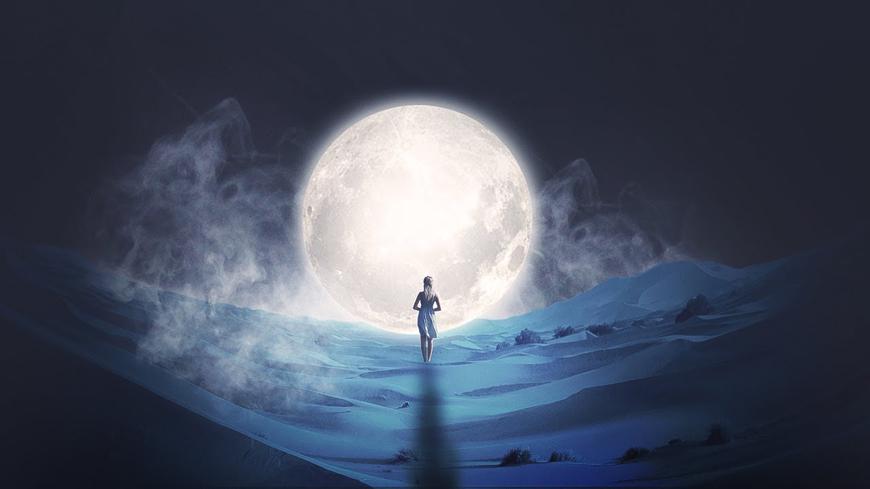 PS教程!蓝色荒漠中的月下少女(含素材及滤镜下载)